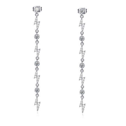 Nueva joyería de venta caliente, pendientes de relámpago personalizados, pendientes largos de circonita de lujo con temperamento para mujer, blanco