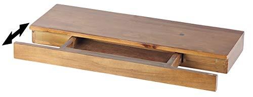 Carlo Milano Holzregal: Wandregal aus Zedernholz mit versteckter Schublade, 50 x 5 x 18 cm (Wandboard)