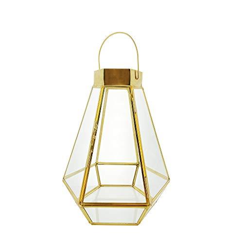 Garlivo - Apollon Laterne für draußen & drinnen, Windlicht aus Glas, Gold, Messing | 17,5 cm (B) /26 cm (H) | Gartenlaterne für Gartendeko und Balkon Dekoration