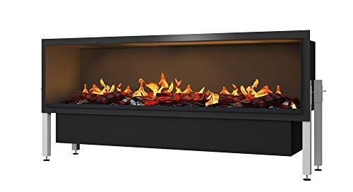 Muenkel design Wall fire Electronic PRO - Opti-Myst elektrische open haard muur inbouw incl. decoratief hout - zonder verwarming - externe wateraansluiting - breedte 1650 mm