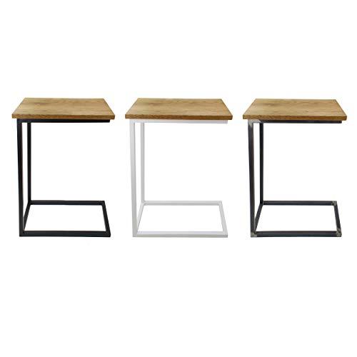 Natural Goods Berlin 1x Beistelltisch C-Form | Laptoptisch aus Metall und Holz | Couchtisch Sofa Kaffeetisch Sessel | praktische Ablage | Nachttisch Unterschieben (mit Tischplatte Eiche, Schwarz)