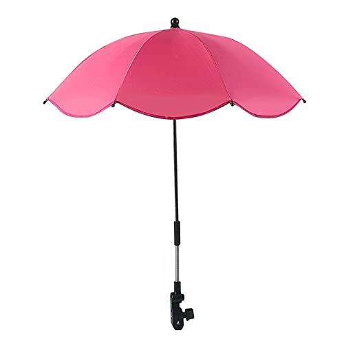 DASNTERED Sombrilla para silla de paseo con diseño de toldo y parasol manual abierto para cochecito de bebé con clip para silla de ruedas, brazo flexible (rojo rosa)