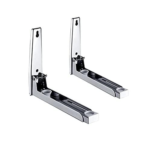Naticy Soporte de horno de microondas, marco de soporte ajustable, soportes de microondas de acero inoxidable, soporte de pared resistente para cocina, color plateado