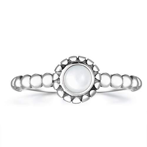 Guzhile Anillo abierto ajustable para mujer, plata de ley 925, piedra lunar, piedra lunar, piedra natural, vintage, bohemia, estilo bohemio, ajustable