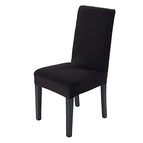 JZK Set 6 x Funda de Silla Spandex Negro con Respaldo Alto elástico, Fundas elásticas para sillas de Comedor para sillas de Fiesta, Silla de Boda, Silla de Comedor