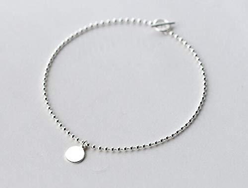 GYXYZB 1 Pc 21 Cm 100% echt. 925 sterling zilveren fijne sieraden gepolijst muntje ronde kralen ketting enkelbandje