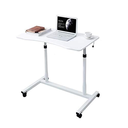 XJL Mesa de comedor plegable, mesa de día, mesa de regazo móvil, multifuncional y práctica, utilizada en interiores y exteriores, ajustable (color: blanco, tamaño: 95 x 52 x 70 – 108 cm)