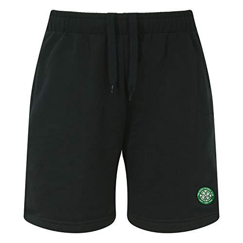 Celtic FC Official Soccer Gift Mens Fleece Jogger Shorts Black Medium