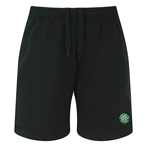 Celtic FC Official Soccer Gift Mens Fleece Jogger Shorts Black Large