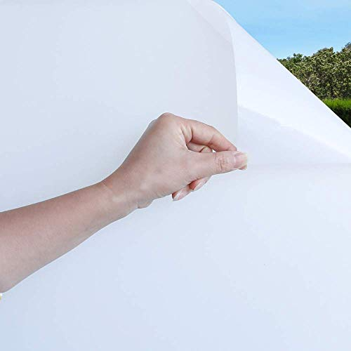 Mangobox White Opaque Window Film Non Adhesive Window Privacy Film for Home Office Window Covering Sun Blocking Anti UV Heat Control Static Cling (17.7x78.7 inches)