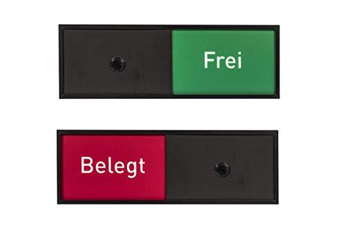 MADRID Black Line Frei-/Belegt Anzeige   Aluminium schwarz eloxiert   50 x 150 mm   Wechselschieber Frei/Besetzt für Büro   für Wartezimmer   für Besprechungsräume   selbstklebend