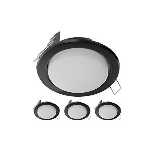 Preisvergleich Produktbild ledscom.de LED Einbauring Zobe slim GX53 schwarz rund 4W=28W 280lm 107mm Ø Lochkreis 90mm Ø,  4 Stk.