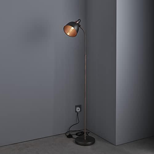 Industrial Floor Lamp in Matt Pewter Antique Copper Finish