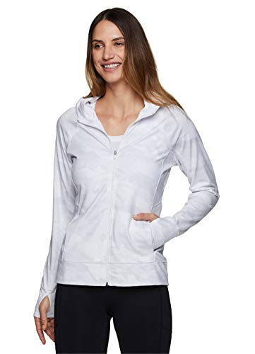 RBX Active Women's Athletic Performance Lightweight Ultra Soft Camo Print Zip Up Running Jacket with Pockets White Camo M
