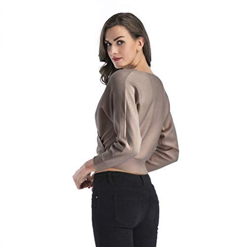 Succper Women's V Neck Knit Sweater Crop Short Fashion Crossed Navel Short Sweater Tops Khaki