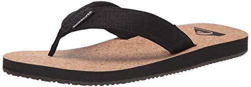 Quiksilver Men's 3 Point Sandal Flip-Flop, Black/Brown/Brown Molokai Abyss Natural, 14