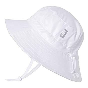 JAN & JUL UV Protection Toddler Bucket Hat with Strap Water-Repellent  L  2-5T White