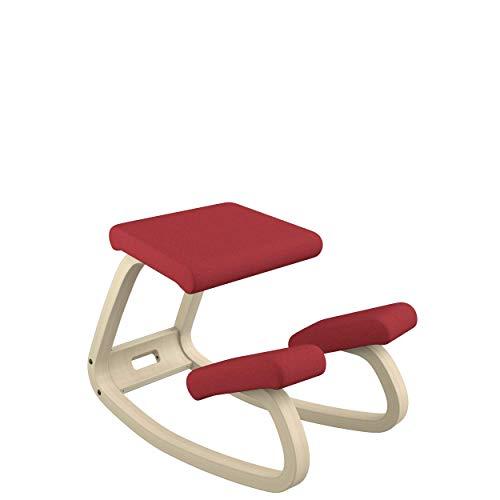 Varier Variable Balans Original Kneeling Chair Designed by Peter Opsvik (Red Revive Fabric with Natural Ash Base)