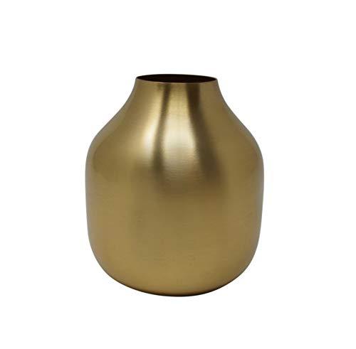 LaLe Living kleine Vase - Basit - aus Eisen in Gold, Maße Blumenvase Ø8x10cm als Mini Deko auf dem Schrank, Regal oder als Tischdeko auf deinem Esstisch