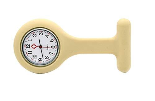 Silikon-Krankenschwester-Uhren Doktor Taschen-Fob-Brosche Krankenschwester Uhren Tunika Batterien Quarz-Uhr (Color : Yellow Cream)