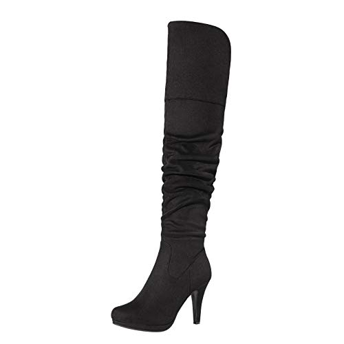 DREAM PAIRS Women's Black Thigh High Chunky Heel Platform Over The Knee Boots Size 7 M US Sarah-hi