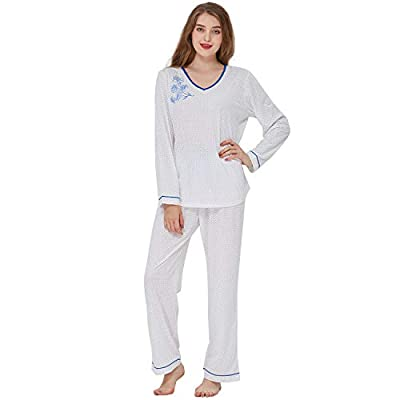 Keyocean Pajamas Set for Women, All Cotton Long Sleeve Long Pant PJ Sets, Soft Cozy Women Sleepwear Nightdress, Medium from Keyocean