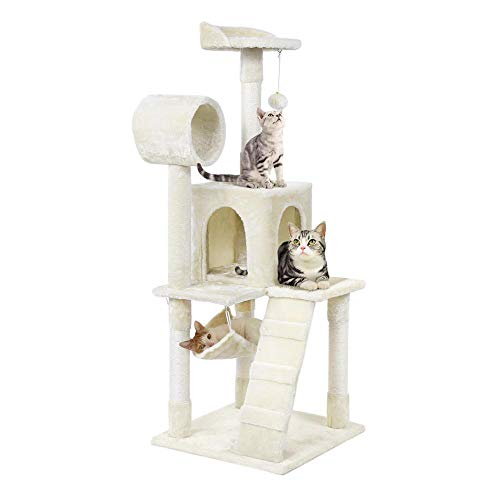 Yaheetech Cat Tree Tower Activity Centres Scratching Post with Tunnel/Condo/Hammock,Beige