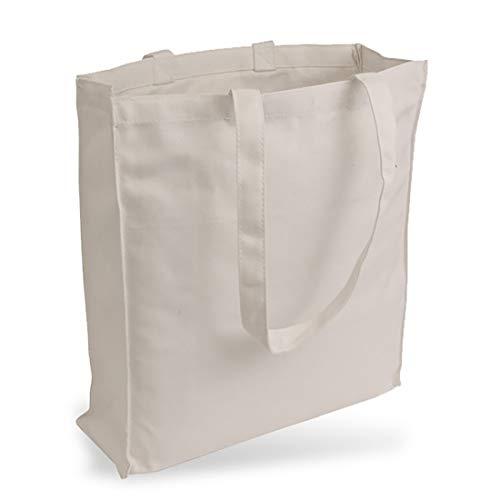 Cottonbagjoe Bolsa de yute de tela vaquera (muy resistente y resistente) sin estampado con pliegues laterales y inferiores y dos asas largas, 38 x 42 x 10 cm (natural).