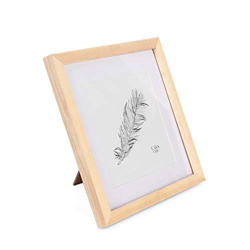 Classic by Casa Chic - Quadratischer Bilderrahmen - Kiefer Natur - 25x25 cm - mit bruchfestem Sicherheitsglas - mit Passepartout 18x18 cm - Rahmenbreite 2cm