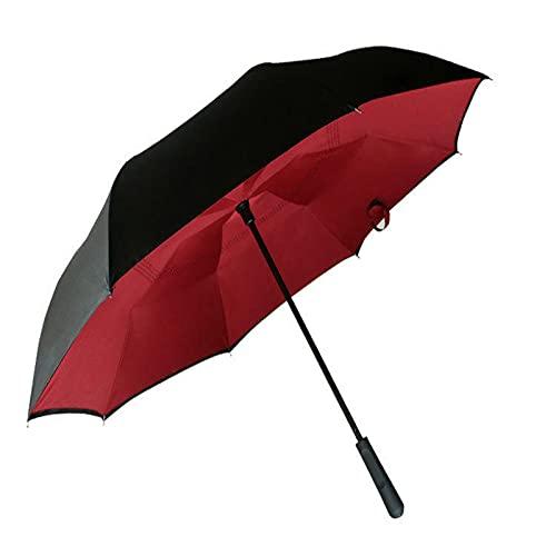 Paraguas de lluvia inversa creativo mango recto doble capa paraguas de coche para hombres y mujeres protección de paraguas, rojo vino (Rojo) - ZB80493SBX1