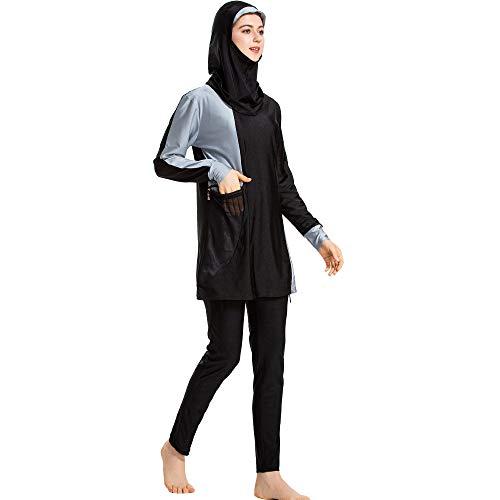 Moslim Dames Burkini Badpak Sets - Bmeigo Elastische Zwempakken Volledige Dekking Los Badpak met Lange Mouwen