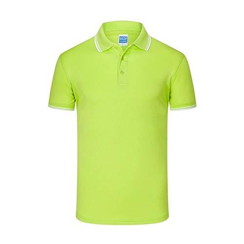 Herren Polo Kurzarm, Baumwolle Lässig Atmungsaktive Koreanische Version Hellgrün Gestreifter Stehkragen Oberbekleidung Schnelltrocknende Stretchknopf-Trikots Kleidung Lässiges T-Shirt Golf Tenni