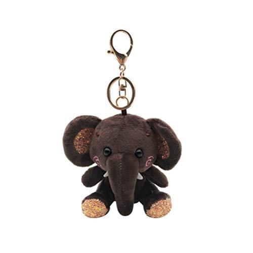 Fenical schlüsselbund plüsch elefanten puppe schlüsselanhänger anhänger niedlichen cartoon taschenanhänger für erwachsene kinder - dunkler kaffee