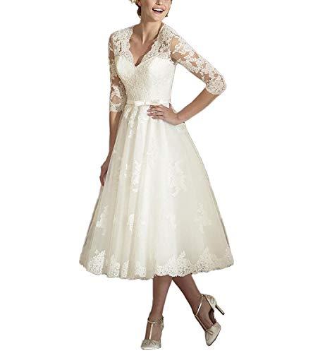 Elegante vestido de boda para mujer, largo de té, tul, encaje en A, línea 3/4, vestido de novia con mangas Color marfil. 38