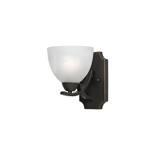 Bronze Finish Commercial Lighting Lumenno Lighting 8002-00-01 Wall Sconce with White Swirl Alabaster Glass Shade
