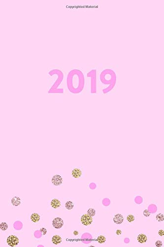 2019: Weekly Daily Journal Pink Rose Gold Polka Dot Confetti