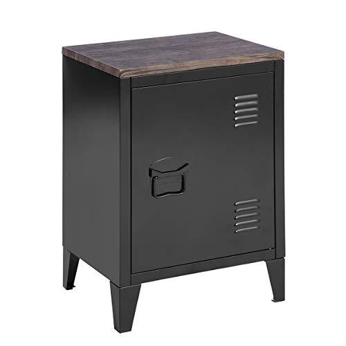 FurnitureR Low Standing Locker Organizer Side End Table Office File Storage Cabinet with MDF Top