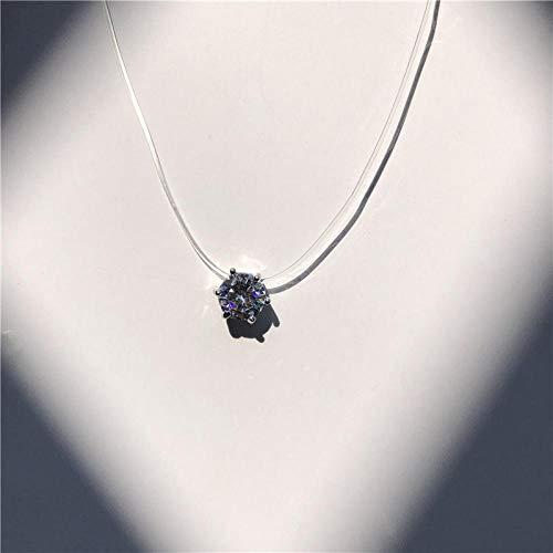 XCWXM Collar con Colgante de Diamantes de imitación, Collar de Mujer Moderno, Transparente y Simple, Collar de Tatuaje, J