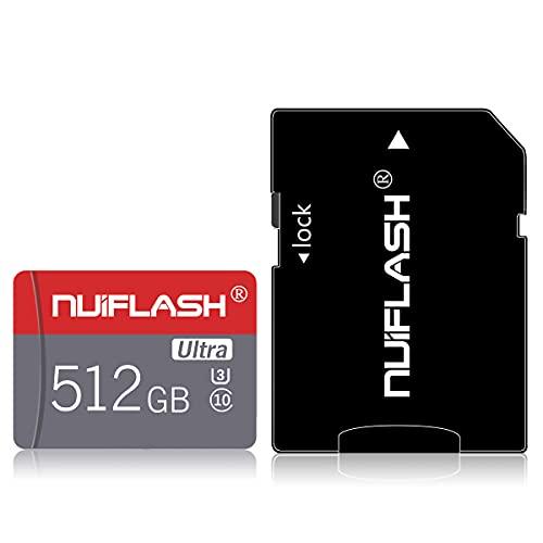 Micro SD-Karte 512 GB Speicherkarte 512 GB TF-Karte Klasse 10 High Speed mit Adapter für Kamera, Telefon, Computer, Dash Came, Überwachung, Drohne…