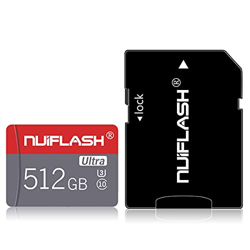 Tarjeta de memoria Micro SD de 512 GB, clase 10, alta velocidad, tarjeta SDXC con adaptador de tarjeta SD