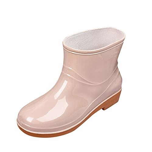 Damen Gummistiefel Regenstiefel Wasserdicht Gummistiefeletten Damen Stiefeletten Bequem Stiefelette mit Flacher Comfort Schuhe Einfarbig rutschfeste Wasserdicht Winter Stiefel Schneestiefel Boots