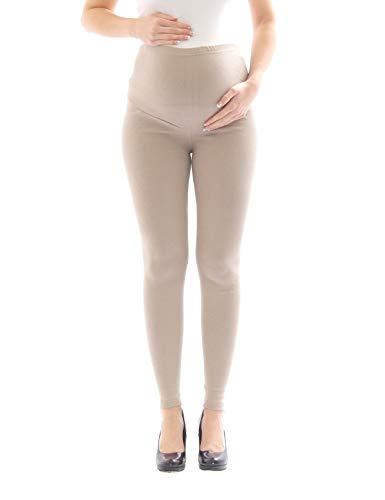 yeset Umstandsleggings Thermo Fleece innen Hose lang Baumwolle Umstand-Leggings beige M