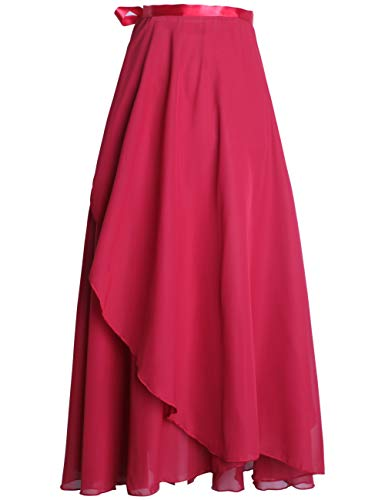 Daydance Burgundy Women's Ballet Wrap Skirts Long Sheer Dance Skirt with Tie Waist 82cm Length