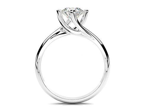 Scermino Gioielli Anello Solitario Oro Bianco con Diamante Naturale D VVS2 1 CARATO Certificato