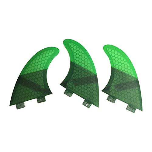 YAOSHI Aleta de propulsión de Tabla de Surf Fin Surfaur Fin G3 Honeycomb Surfing Tail Fin Vidrio Fiber Tail Troud Budward Surfboard Propeller para Hacer Surf en el Agua (Color : Green, Size : S)