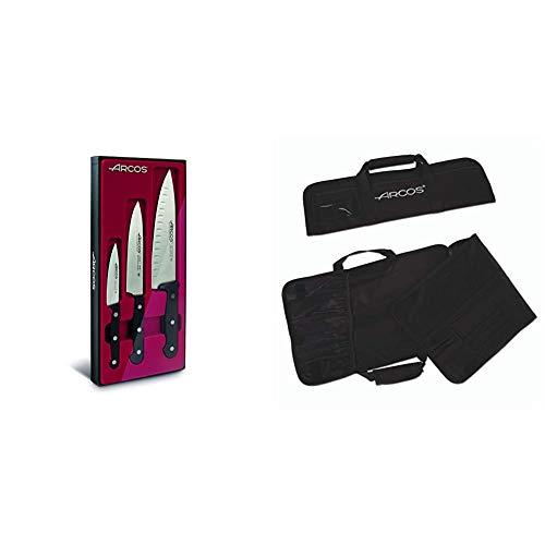 Arcos Set De Cuchillos, Acero Inoxidable, Negro, 45x20x5 cm, 3 Unidades + 690200 - Bolsa con 4 compartimentos para cuchillos