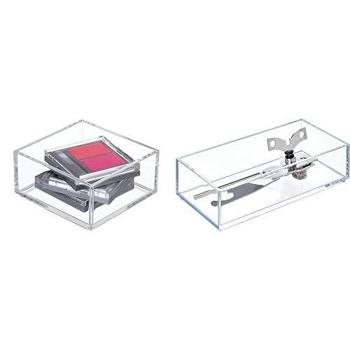 iDesign Organizador De Maquillaje Y Cosméticos, Organizador De Cajones Extrapequeño De Plástico Libre De Bpa + Cubertero Para Cajón, Organizador De Cajones Pequeño De Plástico