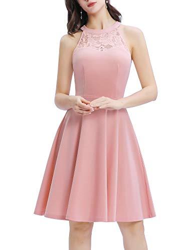 Bbonlinedress Damen Cocktailkleid Abendkleider Elegant Kleid Rockabilly Kleid Retro Vintage Neckholder Hochzeitskleider Blush 3XL