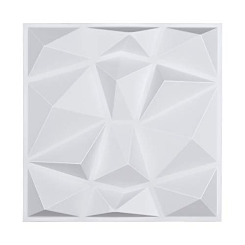 "Art3d Decorative 3D Wall Panels in Diamond Design, 12""x12"" Matt White (33 Pack)"