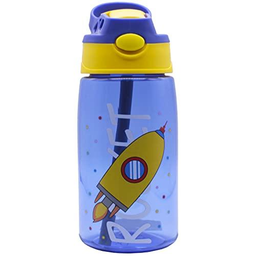 "Botella Agua de 480 ml sin BPA con Pajita y apertura ""One Click"". Mod. Roket"